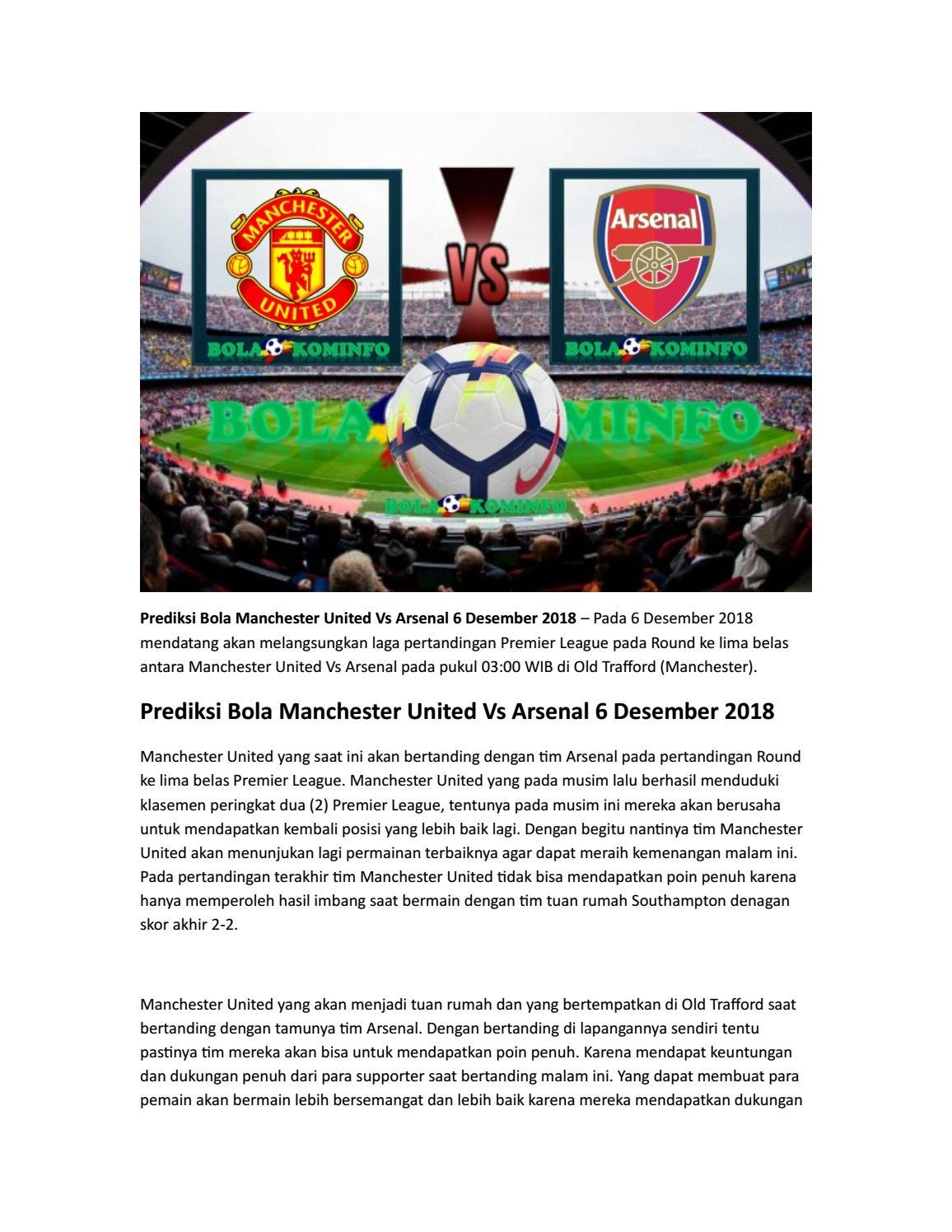 Prediksi Bola Manchester United Vs Arsenal 6 Desember 2018