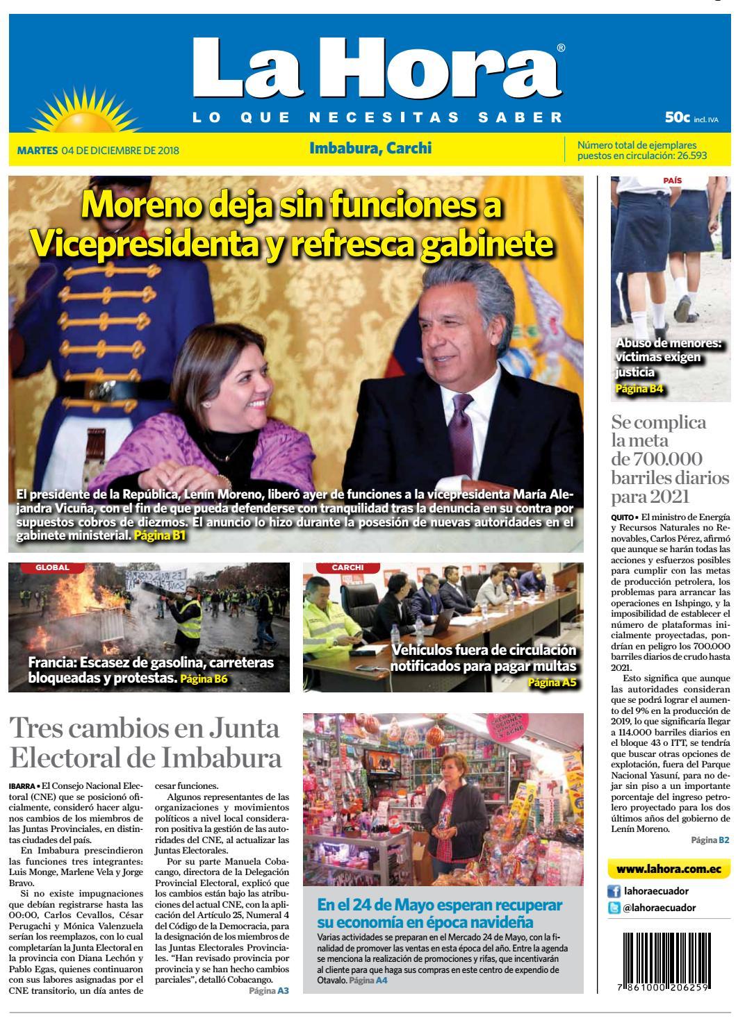 Imbabura 04 de diciembre de 2018 by Diario La Hora Ecuador