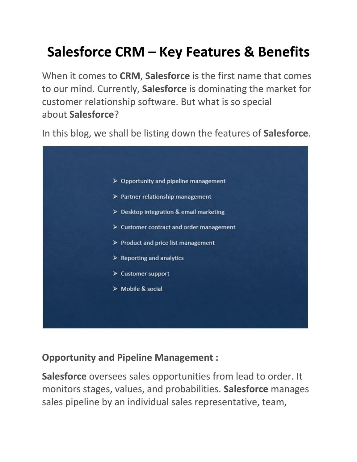Salesforce CRM – Key Features & Benefits by JanBask - issuu