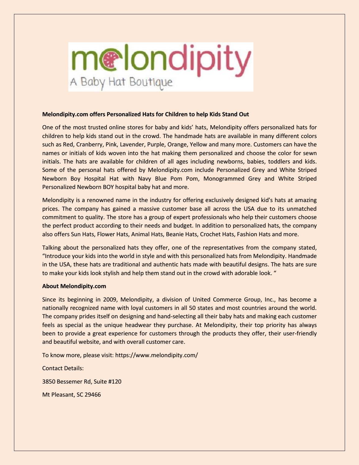 a8a2f581 Melondipity.com offers Personalized Hats for Children to help Kids Stand Out