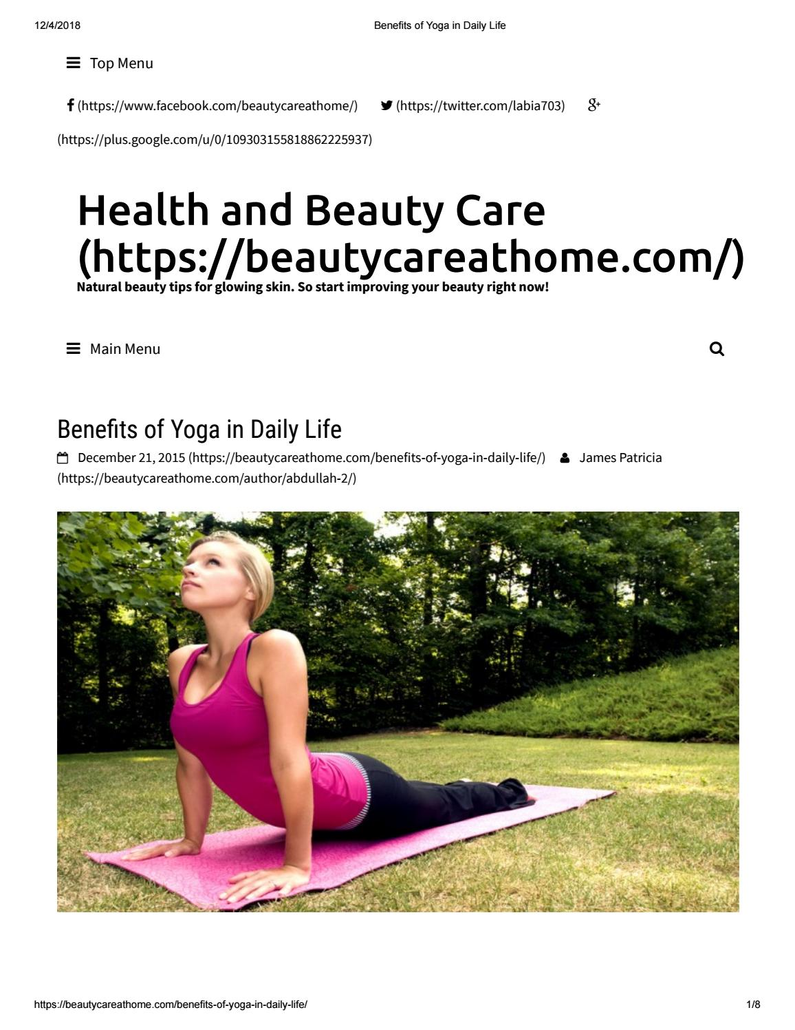 Benefits Of Yoga In Daily Life By Beautycareathome1 Issuu
