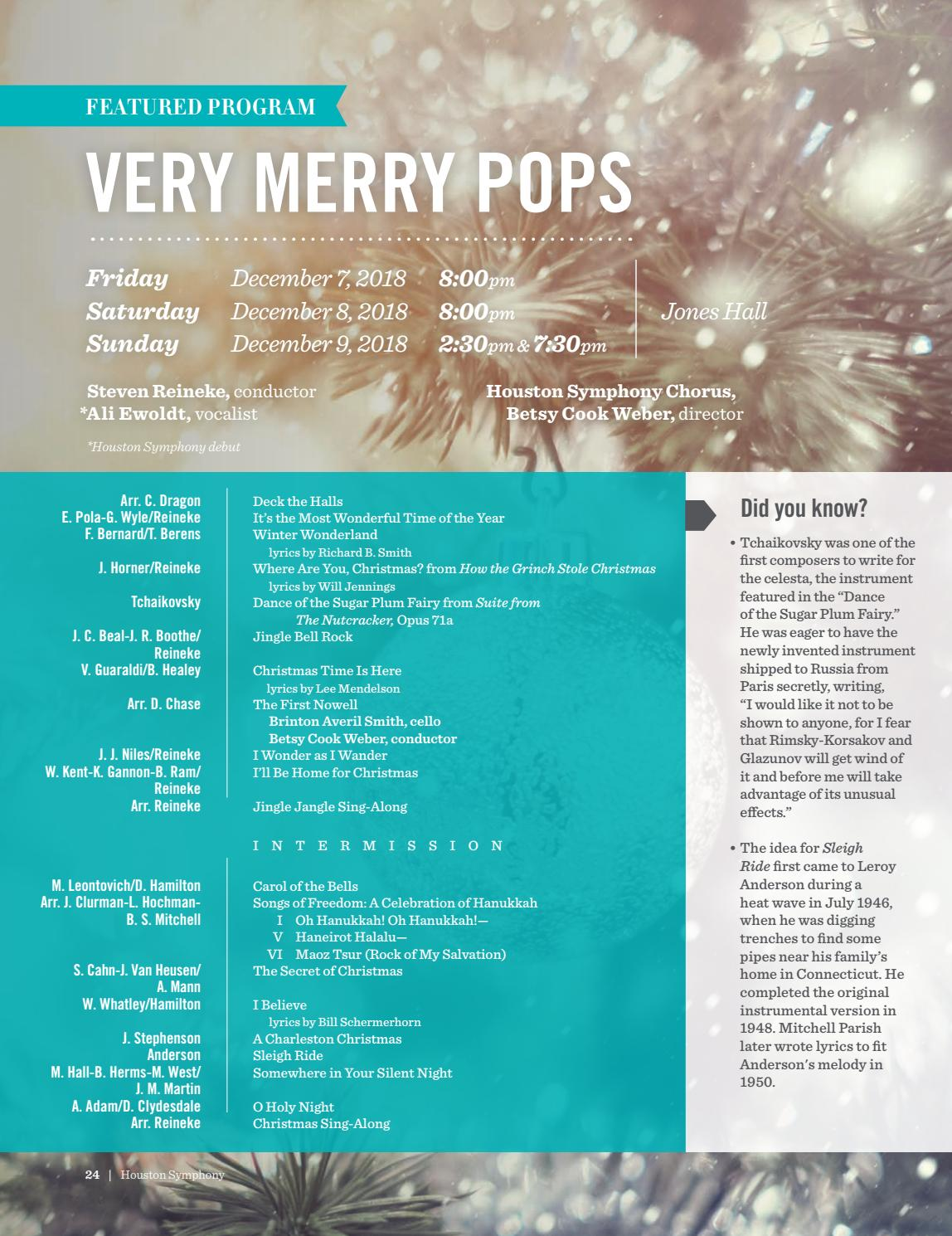 Where Are You Christmas Lyrics.Intune The Houston Symphony Magazine December 2018 By