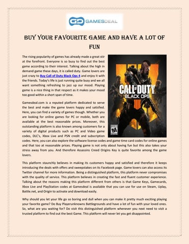 Buy Your Favourite Game and Have A Lot of Fun
