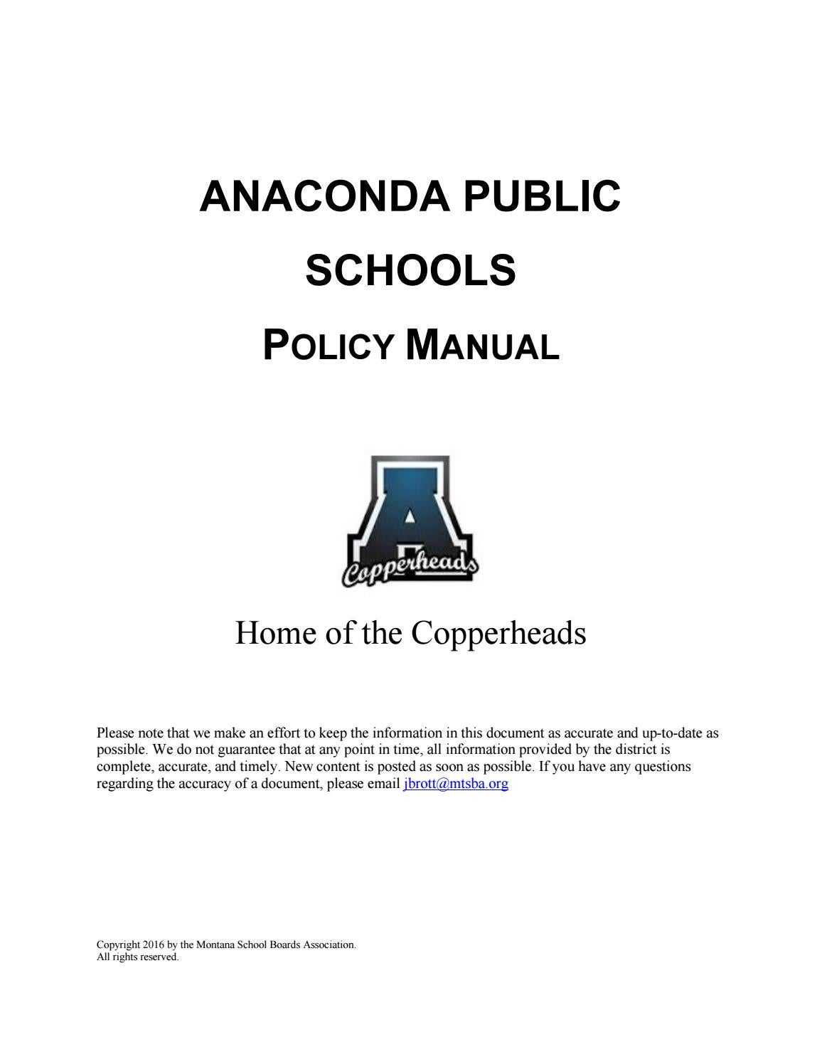 Anaconda Public Schools Policy Manual by Montana School