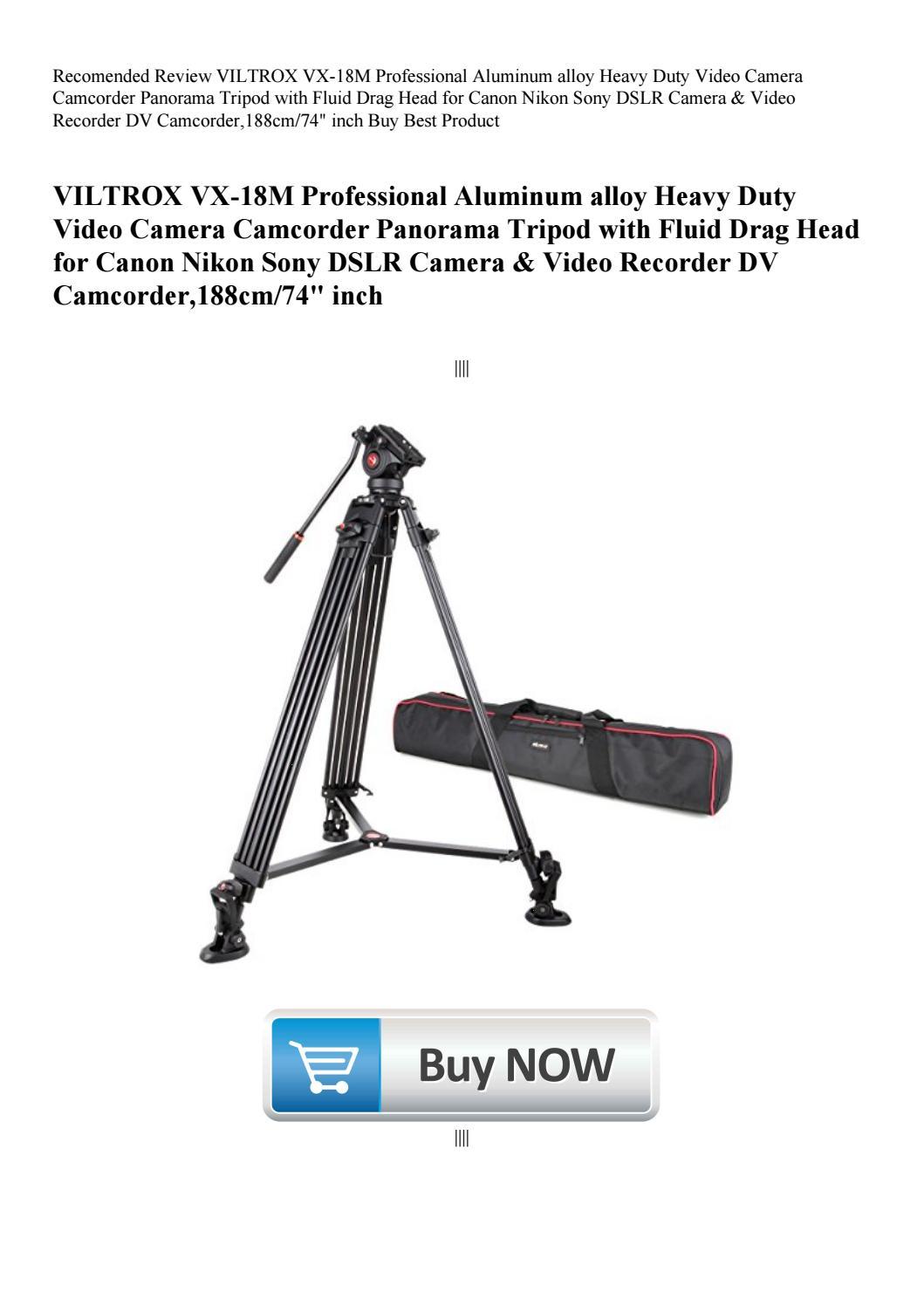VILTROX VX-18M Professional Aluminum alloy Heavy Duty Video Camera Camcorder Panorama Tripod with Fluid Drag Head for Canon Nikon Sony DSLR Camera /& Video Recorder DV Camcorder,188cm//74 inch