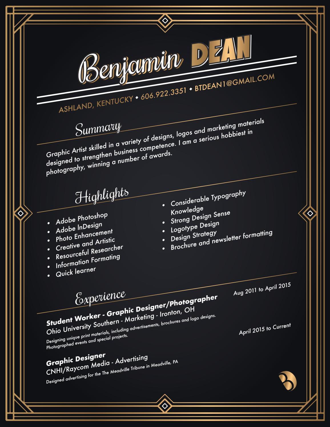 Benjamin's Graphic Resume by btdean1 - issuu