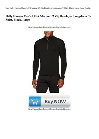 cd2c4b88 New Helly Hansen Men's LIFA Merino 12 Zip Baselayer Longsleeve T-Shirt  Black Large Good Quality