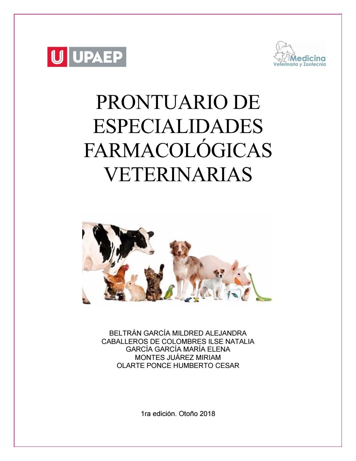 Proyecto Final Farmacología Y Terapéutica Veterinaria By Miriaam1702 Issuu