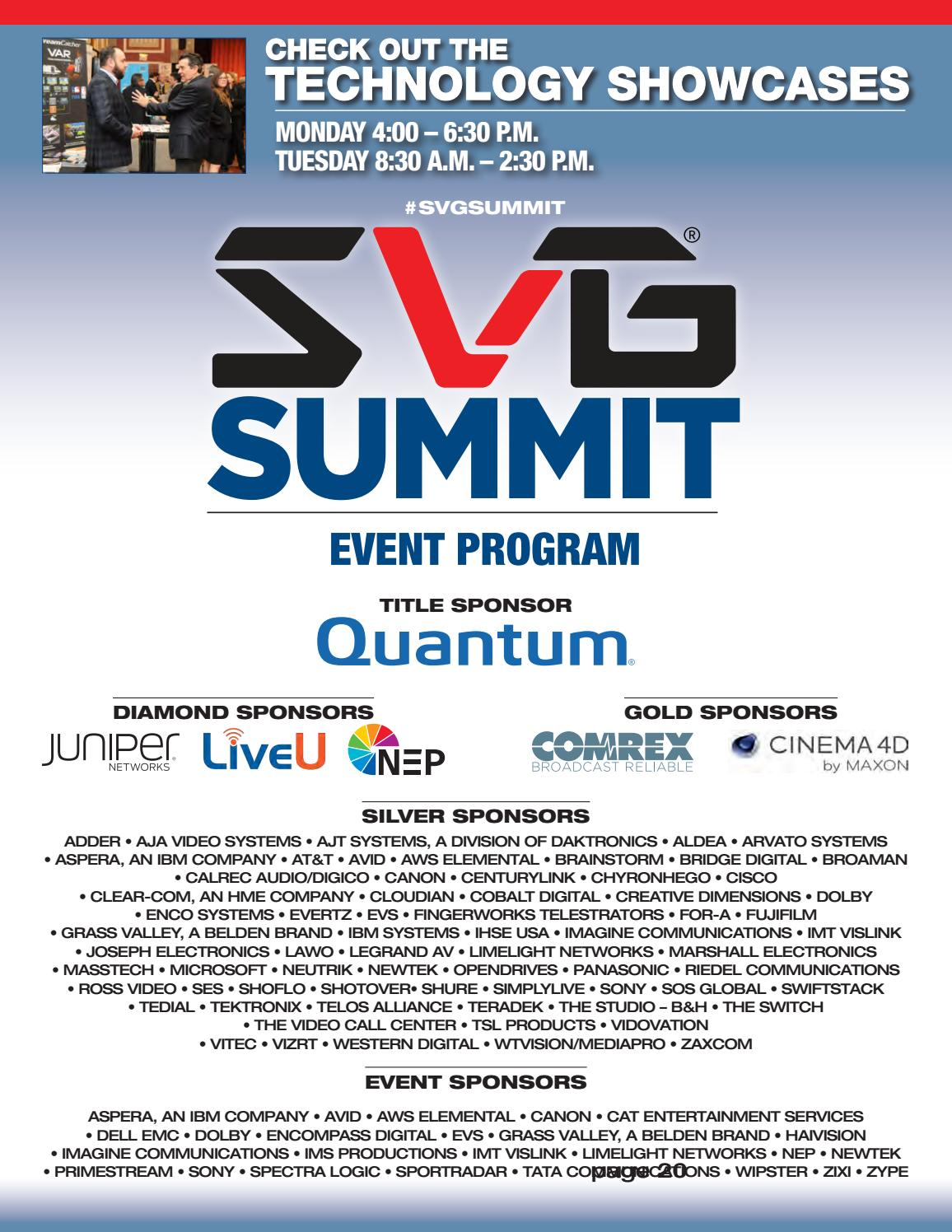 SVG Summit 2108 by Sports Video Group - issuu
