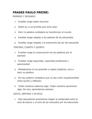 Frases Paulo Freire By Orientación Paulo Freire Issuu
