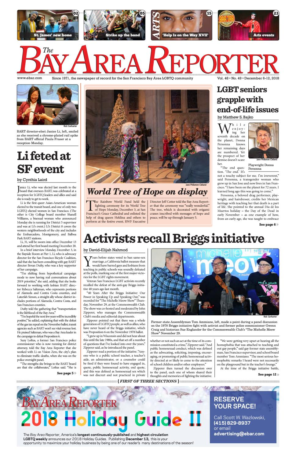 December 6, 2018 edition of the Bay Area Reporter by Bay