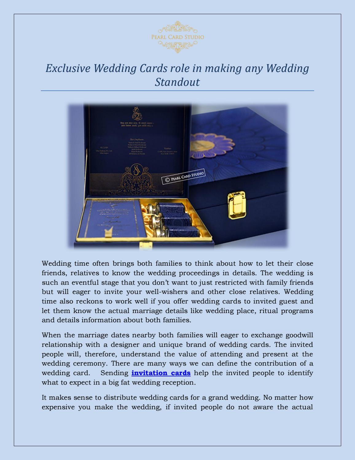Exclusive Wedding Card Delhi By Pearlcardstudio Issuu