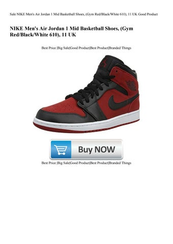 new concept a390d 0b410 Sale NIKE Men s Air Jordan 1 Mid Basketball Shoes (Gym RedBlackWhite ...