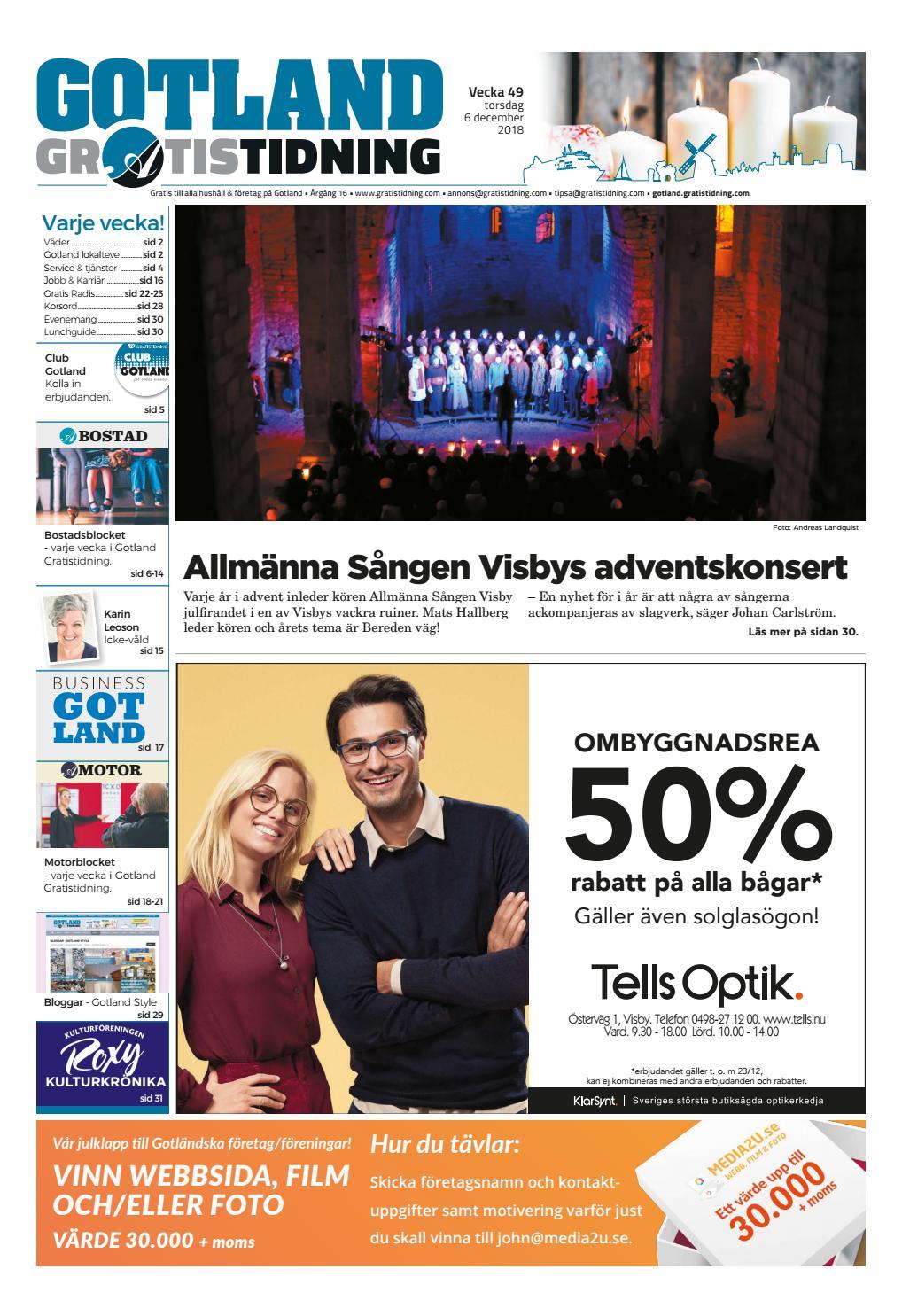 11f4c926e7ec Gotland Gratistidning vecka 49, 2018 by Svenska Civildatalogerna AB - issuu