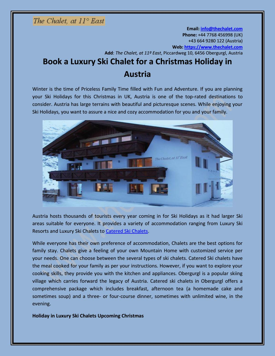 Book A Luxury Ski Chalet For A Christmas Holiday In Austria By Vincent Jones Issuu
