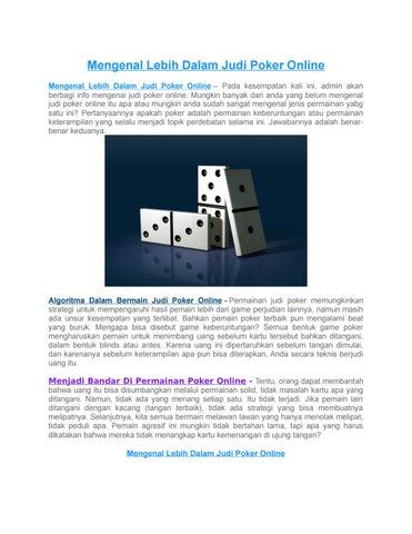 Mengenal Lebih Dalam Judi Poker Online By Main Poker Issuu