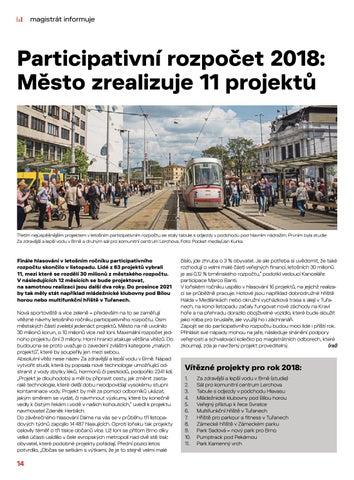 Page 14 of Magistrát informuje: Participativní rozpočet 2018. Město zrealizuje 11 projektů