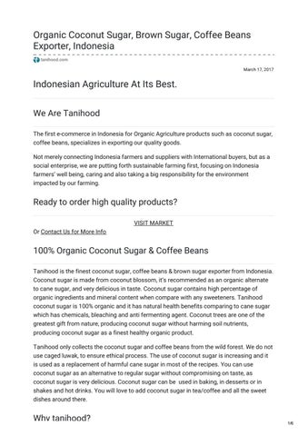 Organic Coconut Sugar Exporter Indonesia – Tanihood by