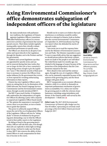 Page 6 of Axing Environmental Commissioner of Ontario's office demonstrates subjugation of independent officers of the legislature