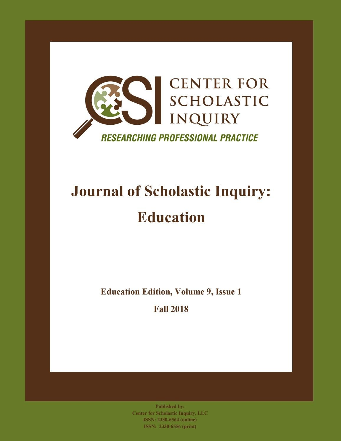 Journal of Scholastic Inquiry: Education, Fall 2018 by
