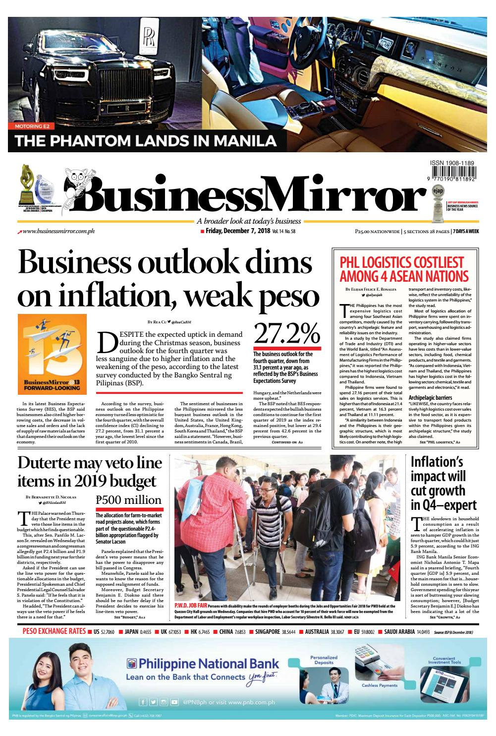 Businessmirror December 07, 2018 by BusinessMirror - issuu