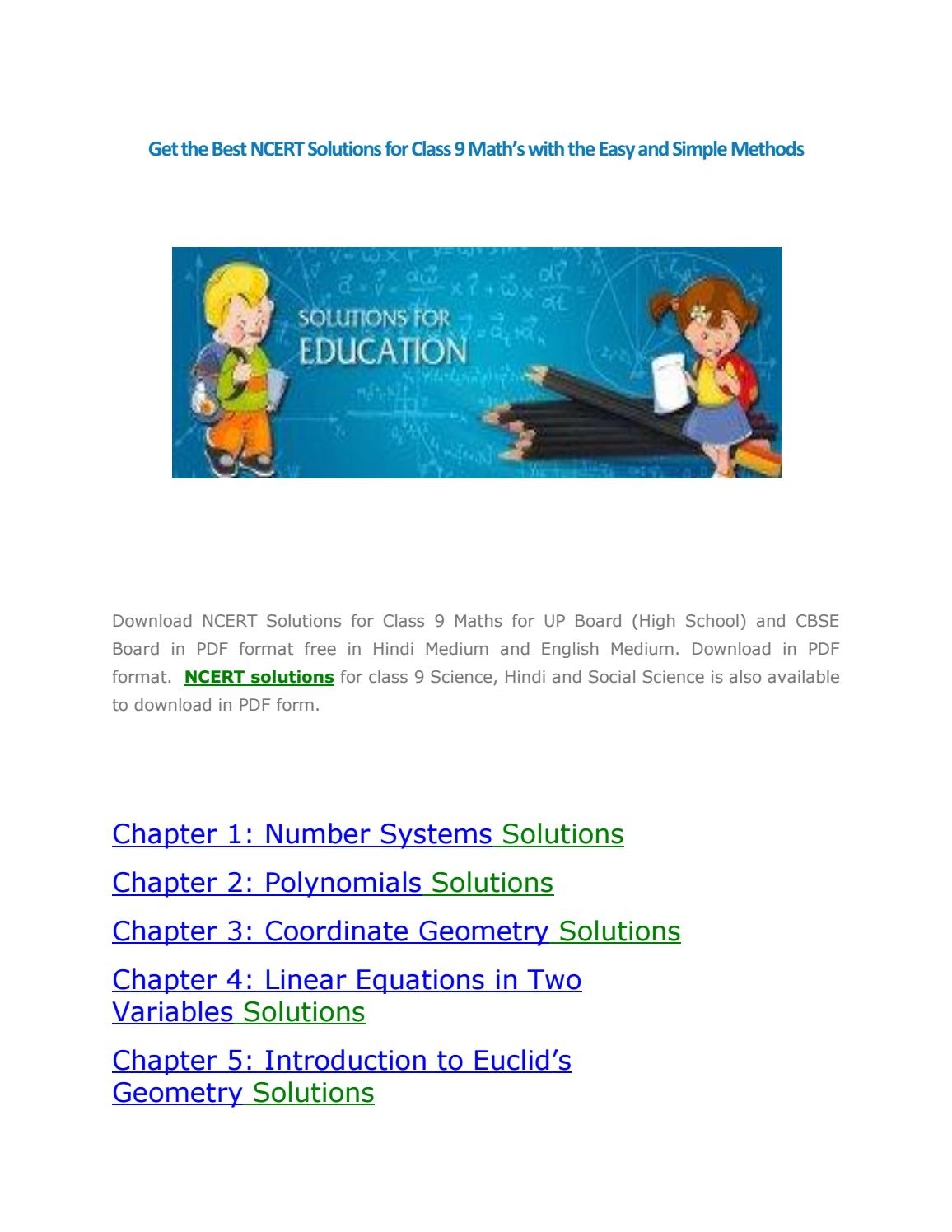 Get the Best NCERT Solutions for Class 9 Math's with the