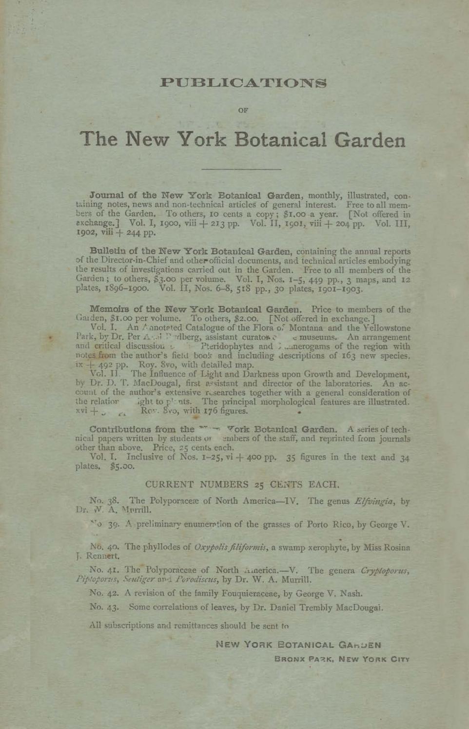 Map Of New York Botanical Garden.Journal Of The New York Botanical Garden Vol 4 N 47 By