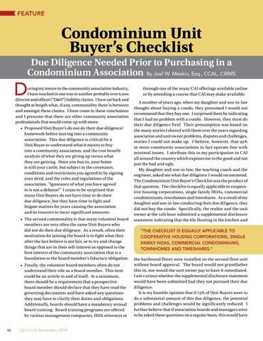 Page 16 of Condominium Unit  Buyer's Checklist By Joel W. Meskin, Esq., CCAL, CIRMS