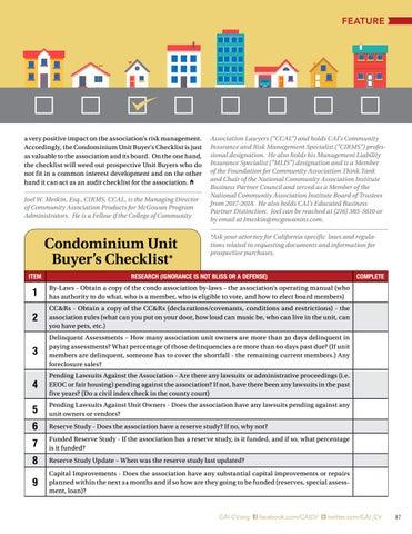 Page 17 of Condominium Unit  Buyer's Checklist By Joel W. Meskin, Esq., CCAL, CIRMS