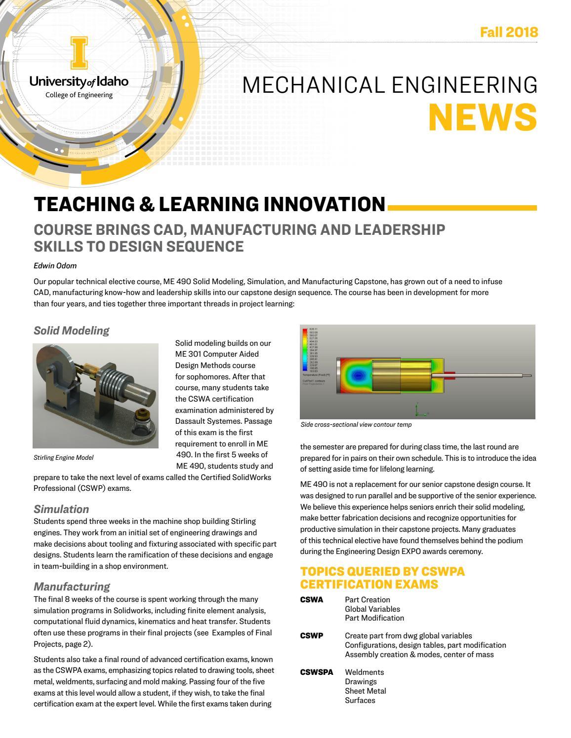Mechanical Engineering News Fall 2018 By The University Of Idaho Issuu
