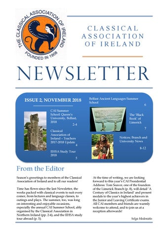"Cover of ""Classical Association of Ireland Newsletter November 2018"""