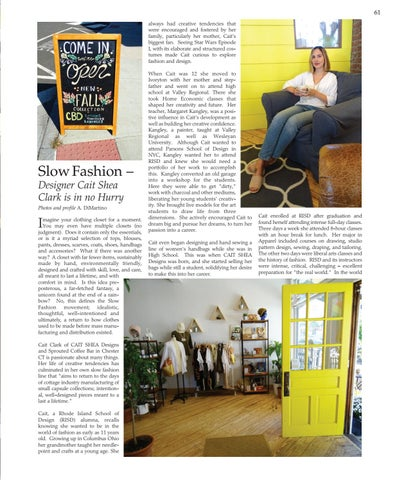 Page 61 of Slow Fashion –  Designer Cait Shea Clark is in no Hurry
