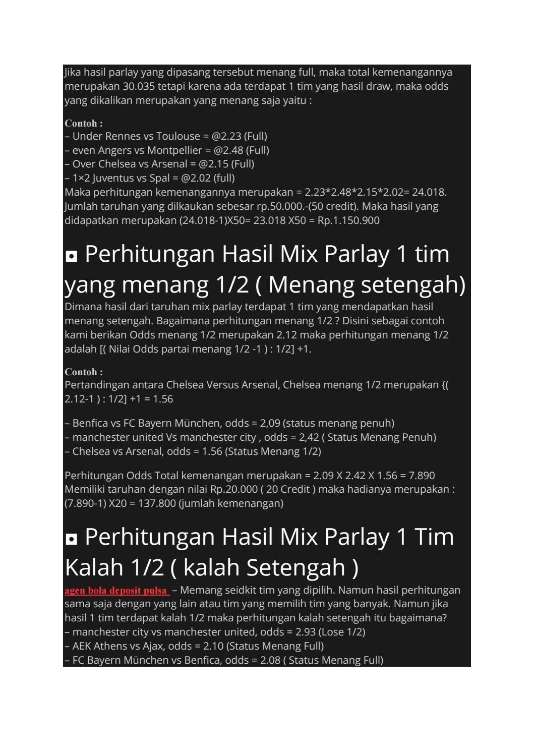 Cara Menghitung Taruhan Bola Mix Parlay Sbobet By Beby An Issuu