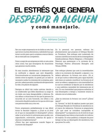 Page 66 of El estres que genera despedir a alguien y como manejarlo, Por: Adriana Castro
