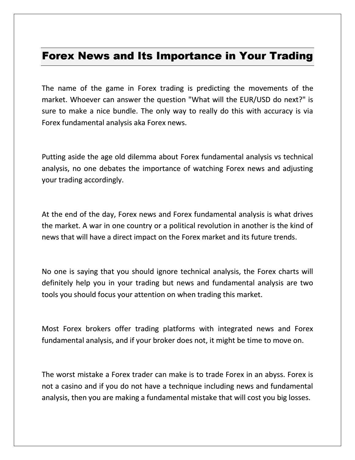 Forex News and Its Importance in Your Trading by Yee Kok