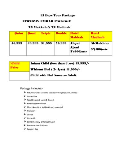 15 Days Tour Package Economy Umrah Package 7n M H 7n Madinah Quint 46999