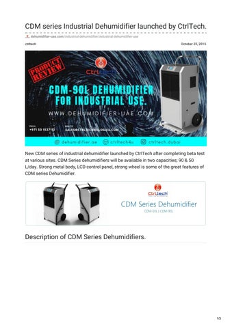 CDM series Industrial dehumidifier launched by CtrlTech in UAE   Saudi  Arabia fa4207f787