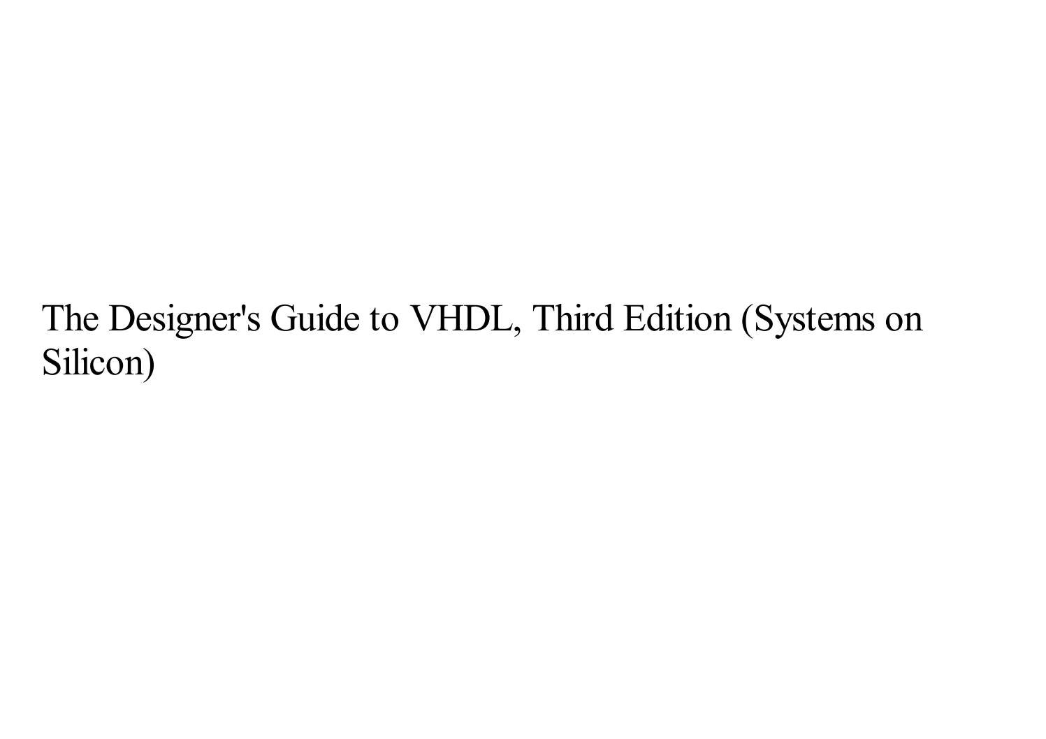 The Designers Guide To Vhdl 3rd Edition Pdf