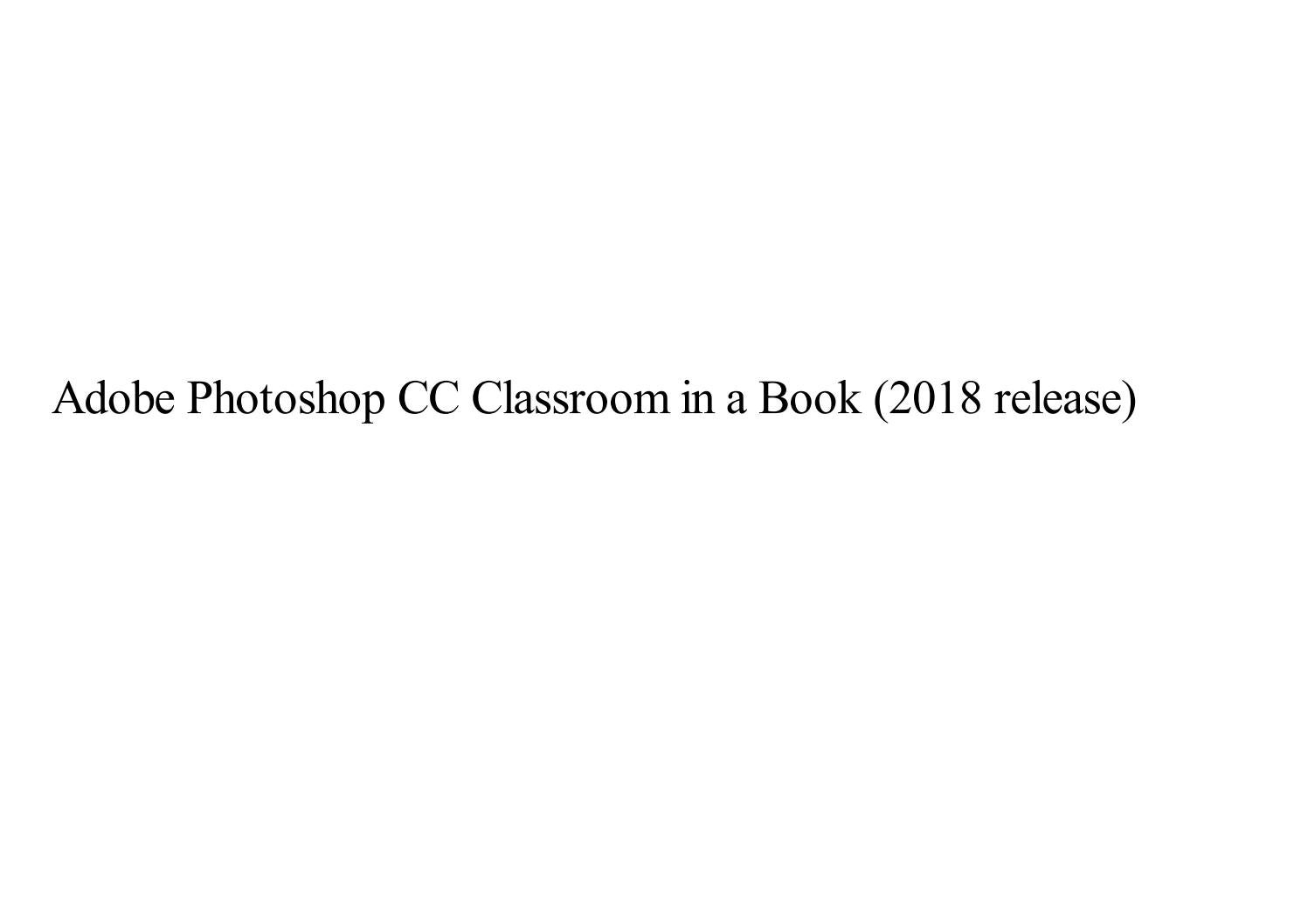 adobe photoshop cc classroom in a book 2018 lesson files download