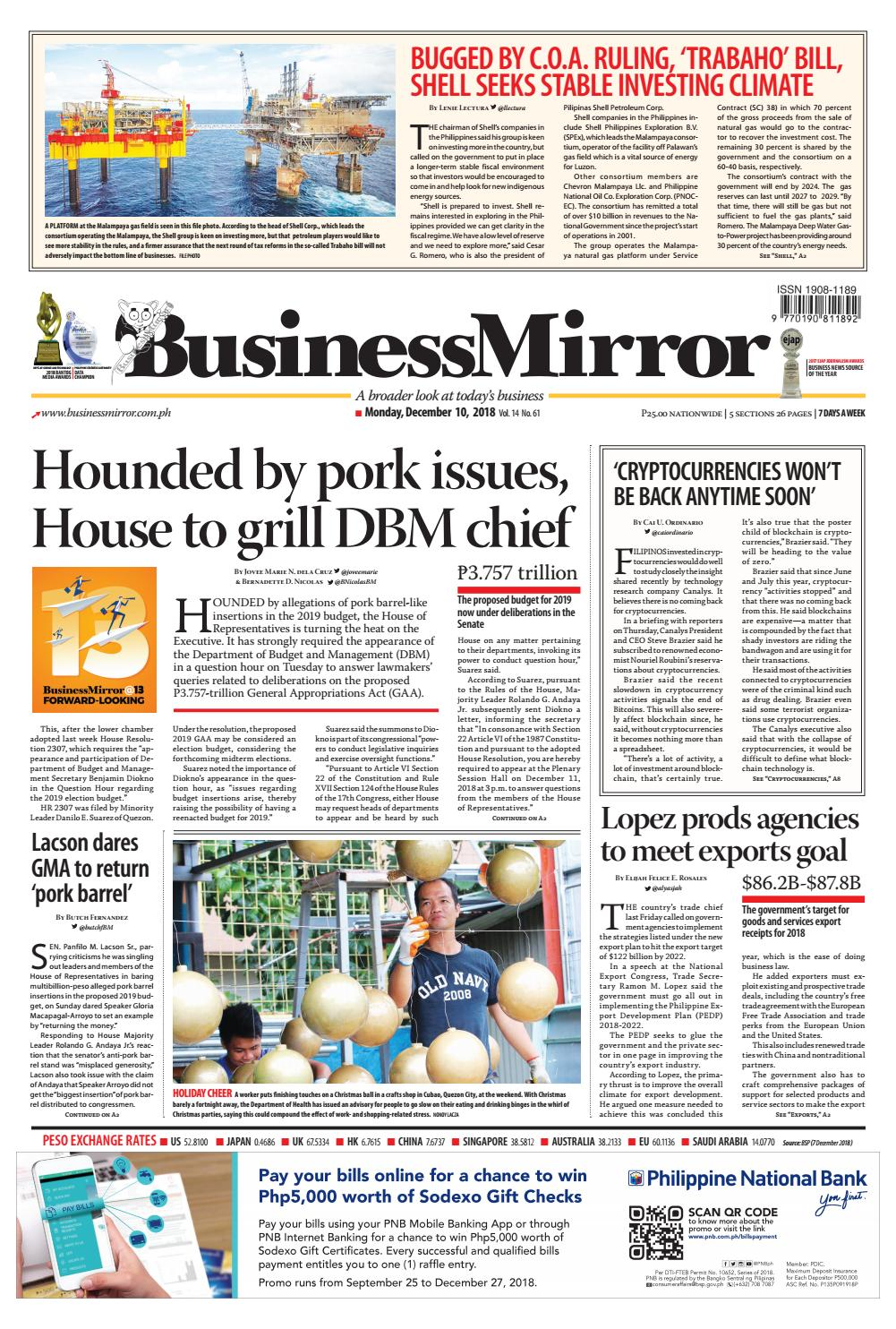 BusinessMirror December 10, 2018 by BusinessMirror - issuu