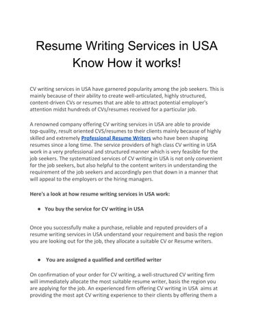 Resume Writing Services In Usa Know How It Works By