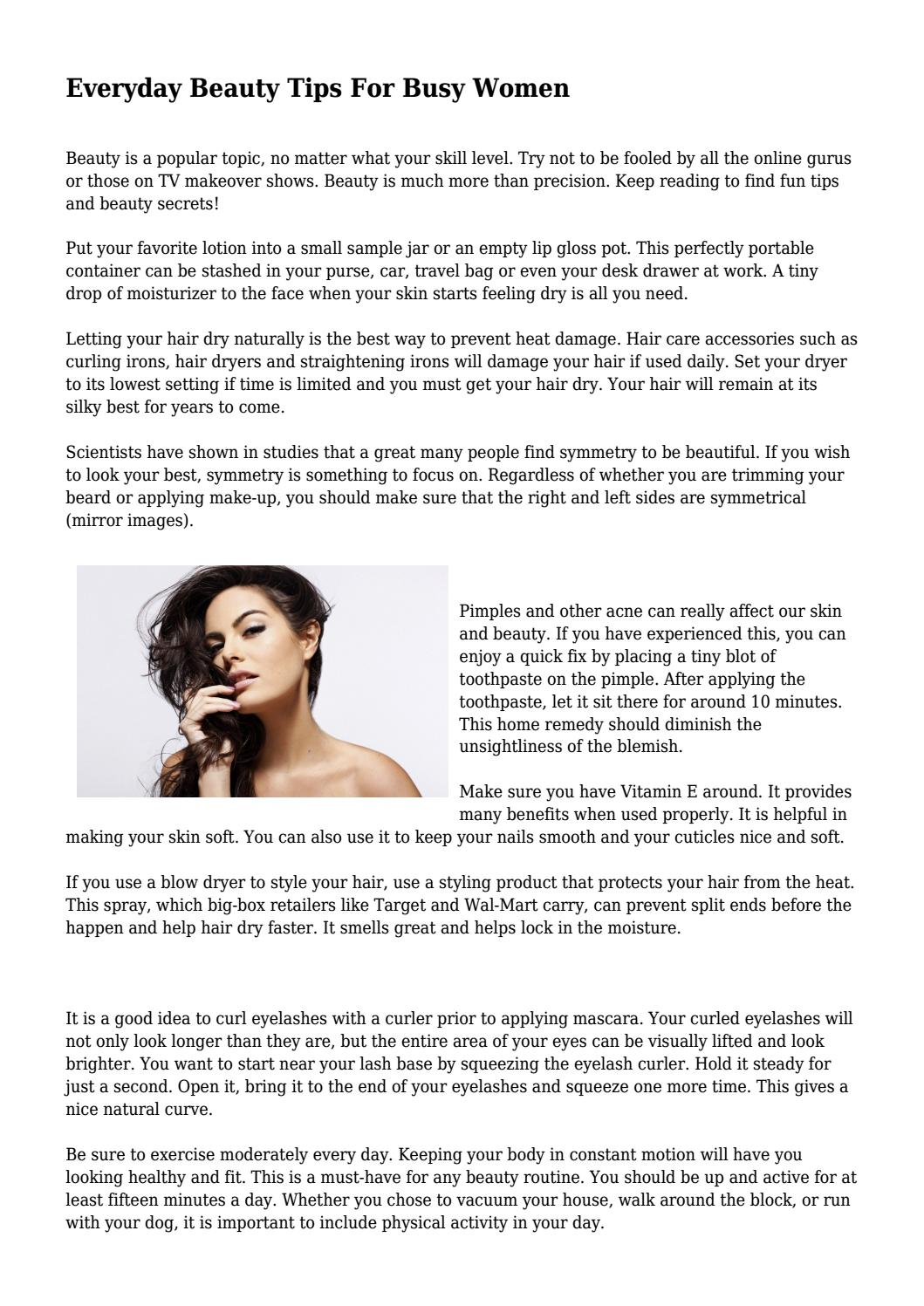 Everyday Beauty Tips For Busy Women by tearfuljuvenile12 - issuu