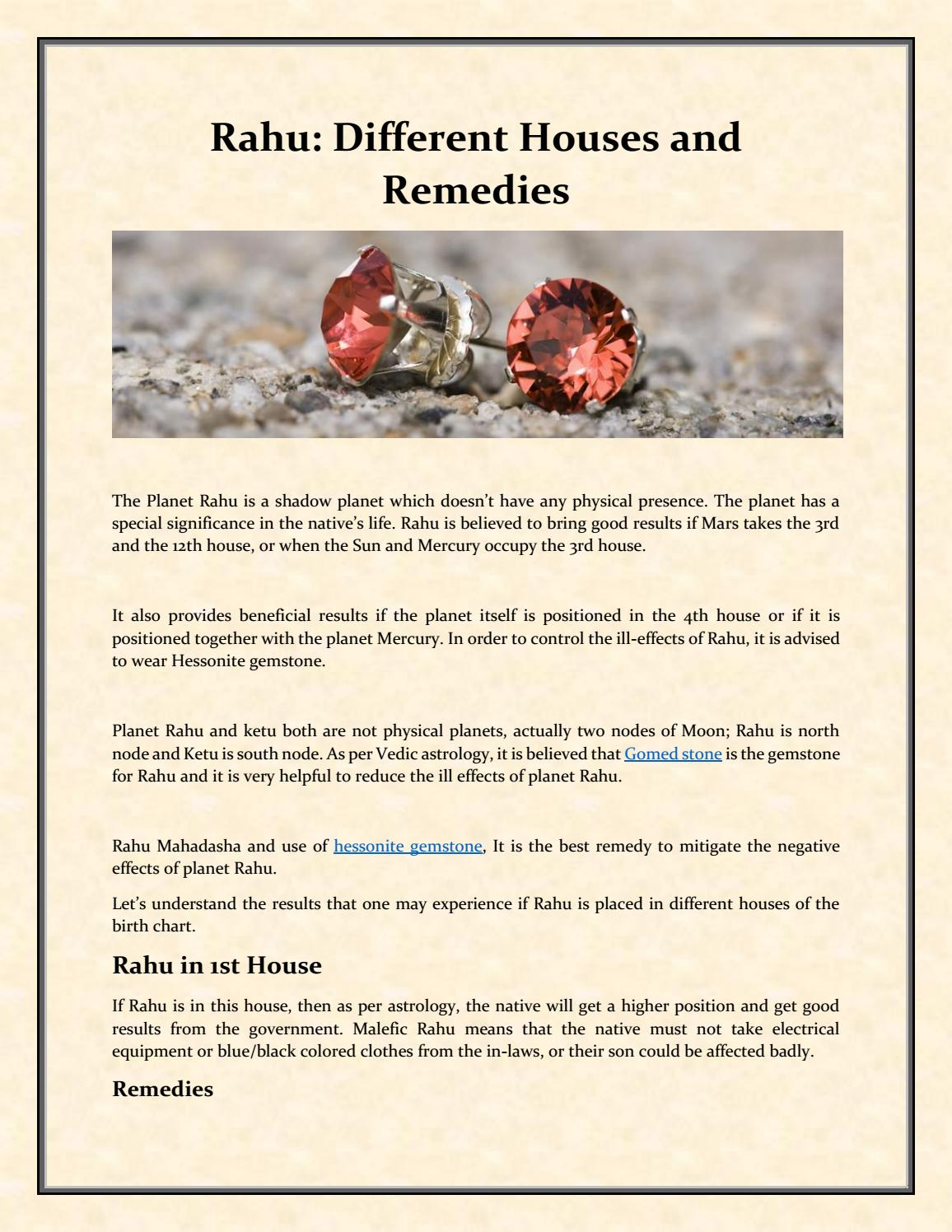 Rahu Different Houses and Remedies by 9gemDotCom - issuu