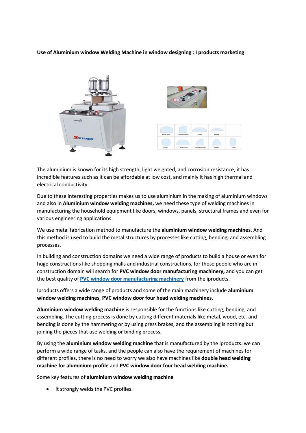 Use of Aluminium window Welding Machine in window designing