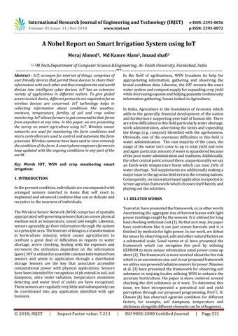 IRJET- A Nobel Report on Smart Irrigation System using IoT