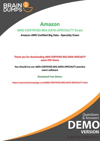 New Year Promotions Availble - 20% OFF on Amazon AWS-Certified-Big
