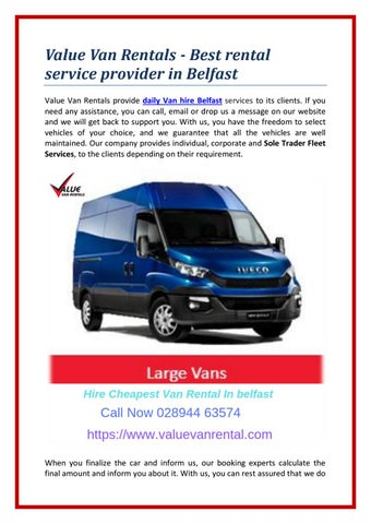 2797c389de Value Van Rentals - Best rental service provider in Belfast Value Van  Rentals provide daily Van hire Belfast services to its clients.