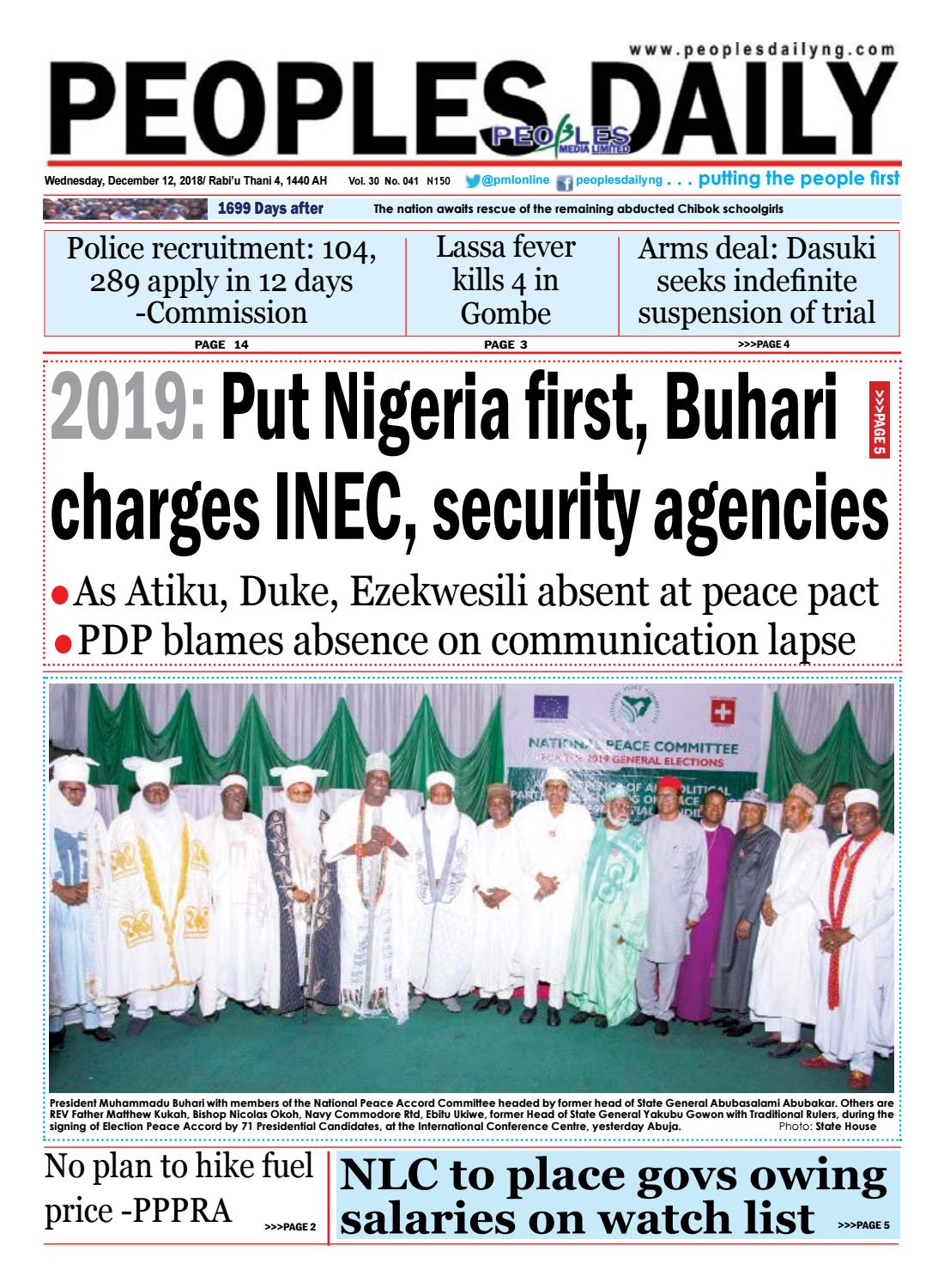 Wednesday, December 12, 2018 Edition by Peoples Media Limited - issuu