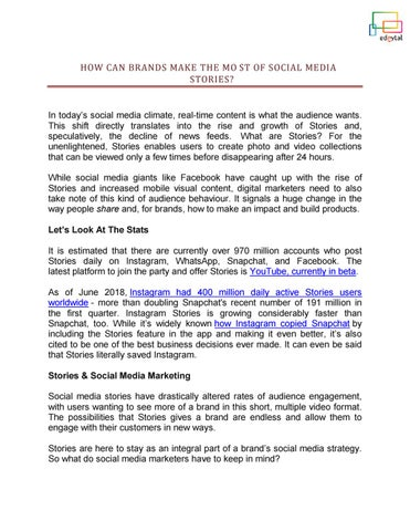 How Can Brands Make The Most of Social Media Stories by