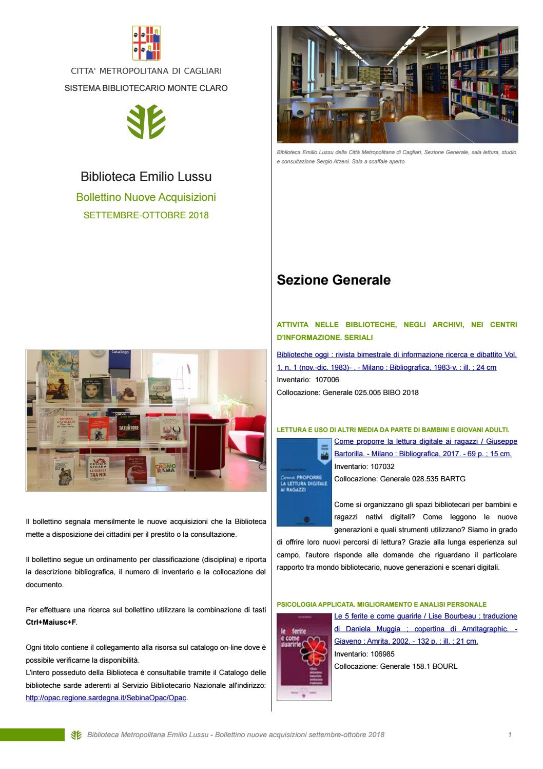 fe221baf24d4b7 Nuovi arrivi in Biblioteca settembre-ottobre 2018 by Biblioteca  Metropolitana Cagliari - issuu